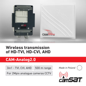 Wireless antenna for 2Mpix video transmission for analog cameras: HD-TVI, HD-CVI, AHD.