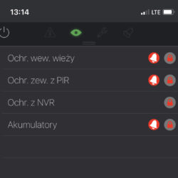 iCAM-Tower APP aplikacja - Załączanie ochrony włamaniowej